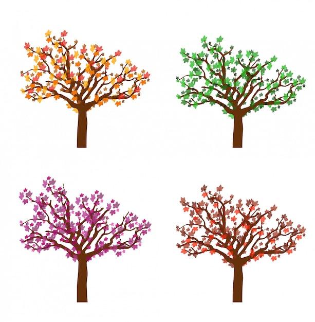 Kleurrijke herfst bomen Premium Vector