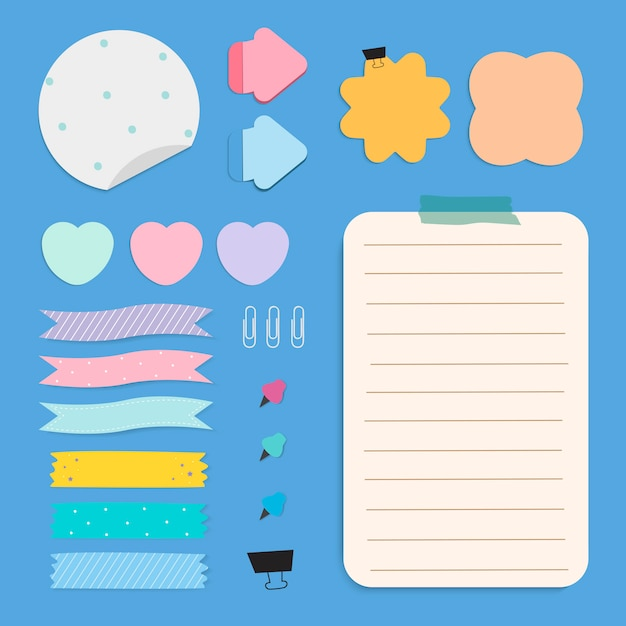 Kleurrijke herinnering papier notities instellen Gratis Vector