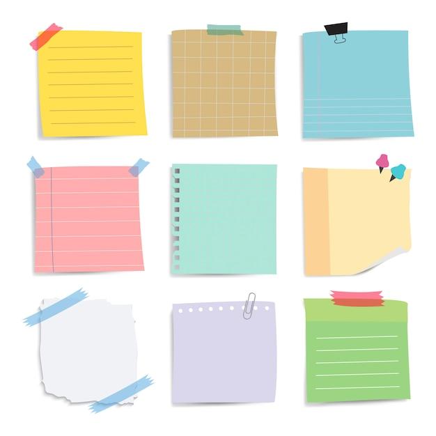 Kleurrijke herinnering papier notities vector set Gratis Vector