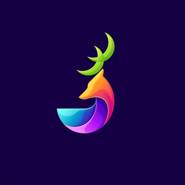 Kleurrijke herten logo illustratie Premium Vector