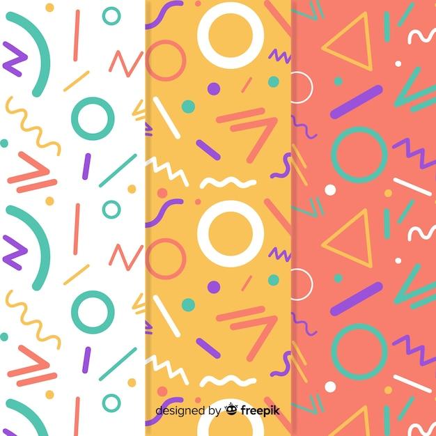 Kleurrijke het patrooninzameling van de memphisstijl Gratis Vector