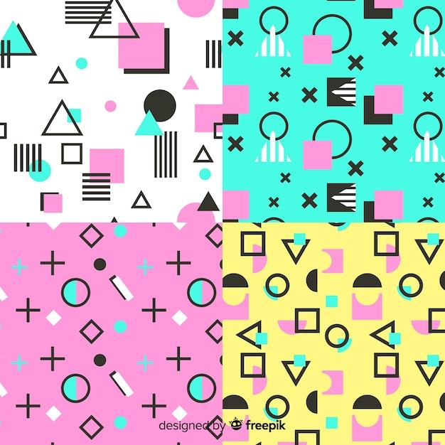 Kleurrijke het patrooninzameling van memphis Gratis Vector
