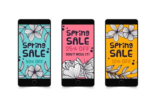 Kleurrijke het verhaalinzameling van de de lenteverkoop instagram Gratis Vector