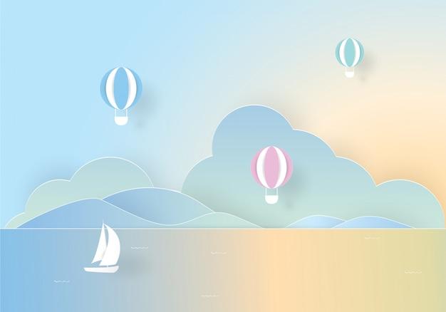 Kleurrijke heteluchtballon zwevend boven de zee, papier gesneden Premium Vector