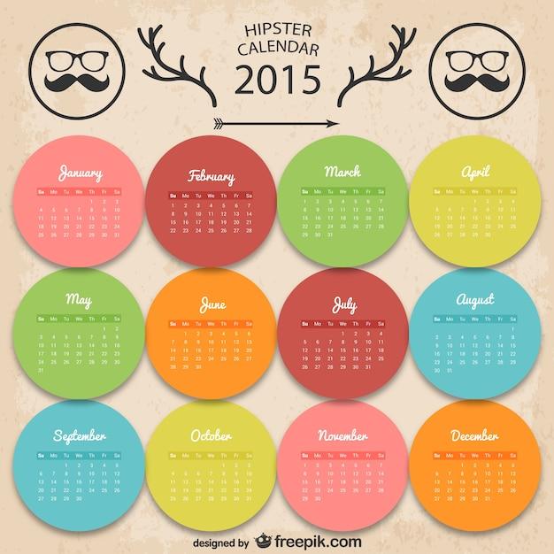 Kleurrijke hipster kalender Gratis Vector