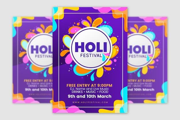 Kleurrijke holi festival flyer sjabloon Gratis Vector