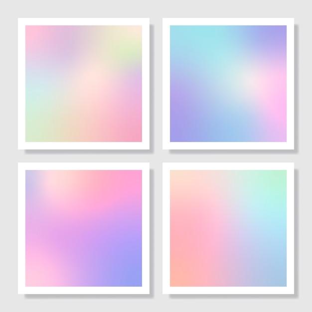 Kleurrijke holografische gradiënt achtergrondontwerpreeks Gratis Vector