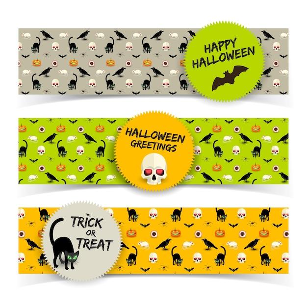 Kleurrijke horizontale banners van halloween met stickers schedel zwarte kat raven vleermuis pompoen rat menselijk oog Gratis Vector