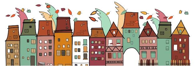 Kleurrijke huizen old vintage town thin line village Premium Vector