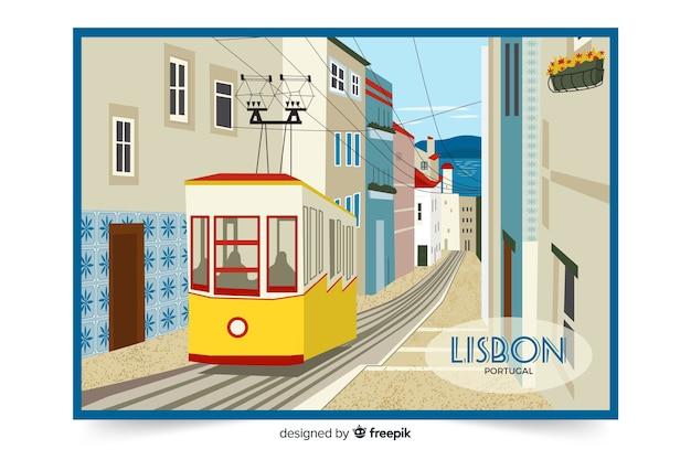 Kleurrijke illustratie met de stad van lissabon Gratis Vector