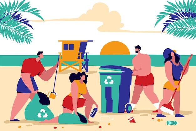 Kleurrijke illustratie met mensen die strand schoonmaken Gratis Vector