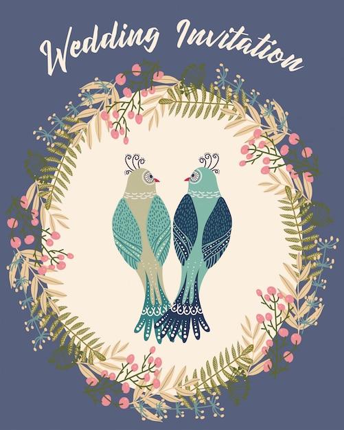 Kleurrijke illustratie met paar vogel binnen bloem frame, Premium Vector