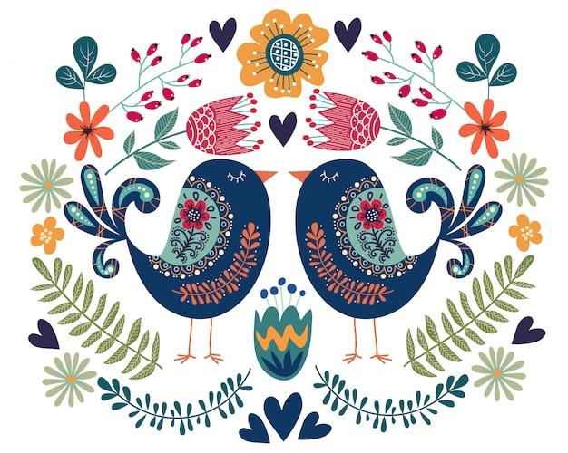 Kleurrijke illustratie met paar vogel, bloemen en folk design elementen Premium Vector