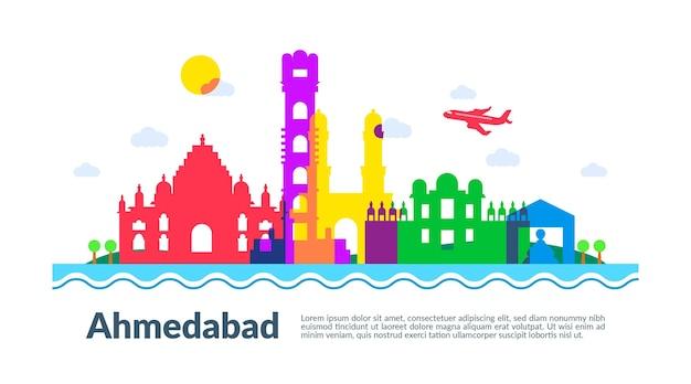 Kleurrijke illustratie van de skyline van ahmedabad Gratis Vector