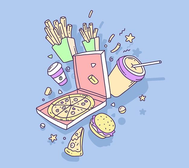 Kleurrijke illustratie van fast-food pizza met frietjes en cola Premium Vector