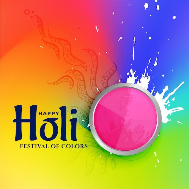 Kleurrijke illustratie van gelukkig holifestival van kleuren Gratis Vector