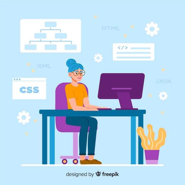 Kleurrijke illustratie van het vrouwelijke programmeur werken Gratis Vector