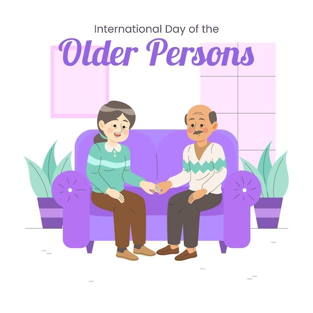 Kleurrijke illustratie van internationale dag van ouderen Gratis Vector
