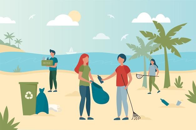 Kleurrijke illustratie van mensen die het strand schoonmaken Gratis Vector