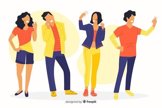 Kleurrijke illustratie van mensen die hun telefoons bekijken Gratis Vector
