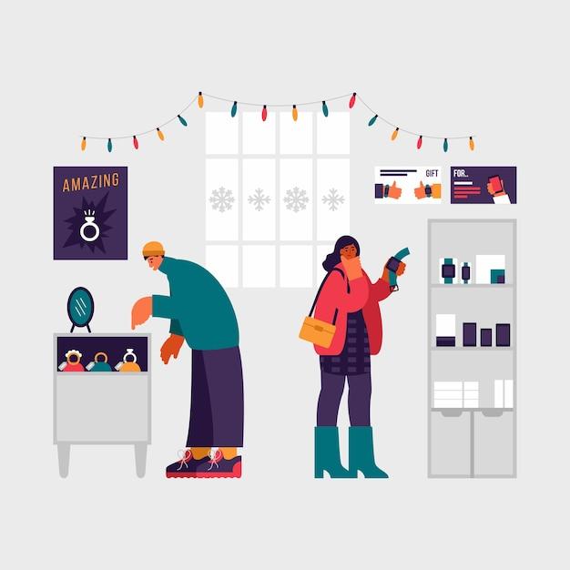 Kleurrijke illustratie van moderne mannelijke en vrouwelijke klanten die sieraden en polshorloge selecteren tijdens de kerstverkoop in moderne winkel Premium Vector