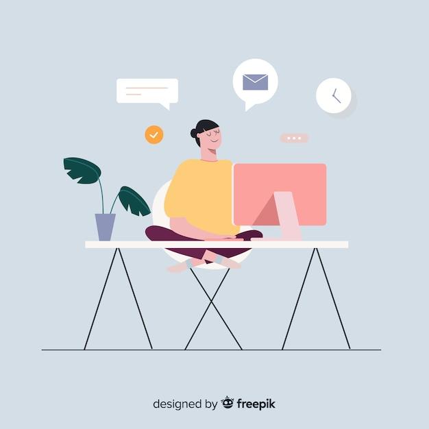 Kleurrijke illustratie van programmeur die zijn werk doet Gratis Vector