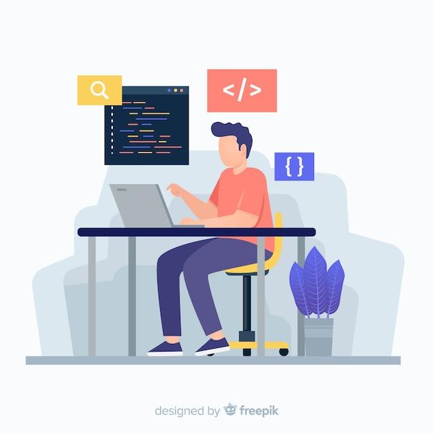 Kleurrijke illustratie van programmeur het werken Gratis Vector