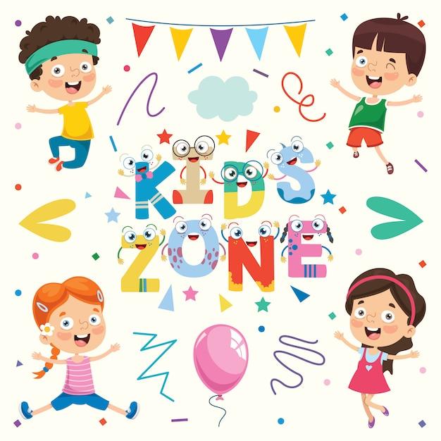Kleurrijke illustratie voor gelukkige kinderdag Premium Vector