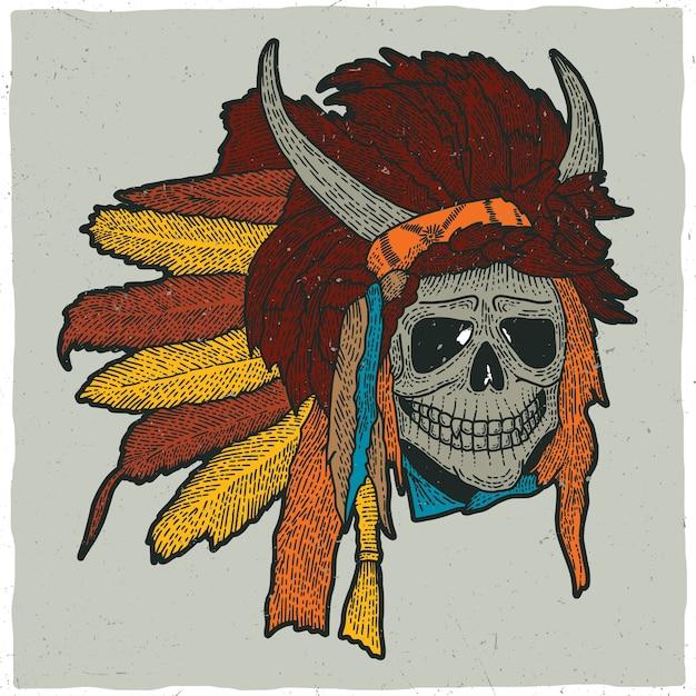 Kleurrijke indiase schedel masker illustratie Gratis Vector