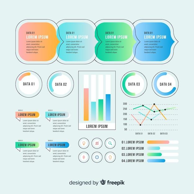 Kleurrijke infographic elementen met verloop effect Gratis Vector