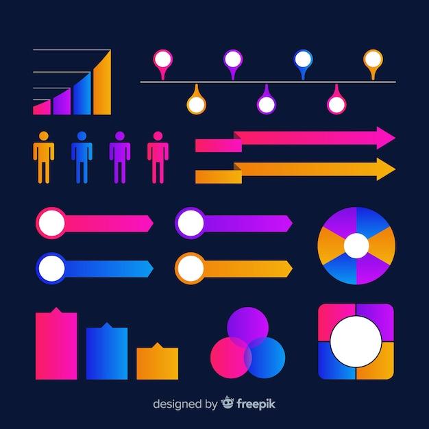 Kleurrijke infographic elementeninzameling Gratis Vector