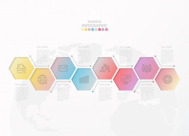 Kleurrijke infographic en pictogrammen voor bedrijfsconcept. Premium Vector