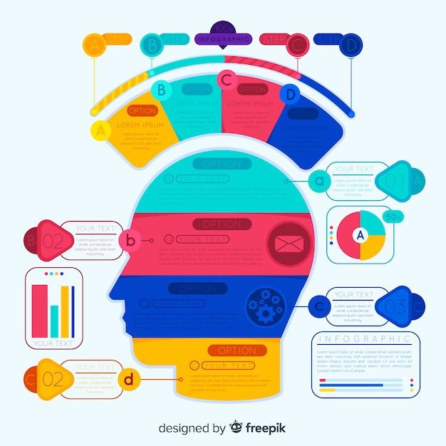 Kleurrijke infographic met stappen Gratis Vector