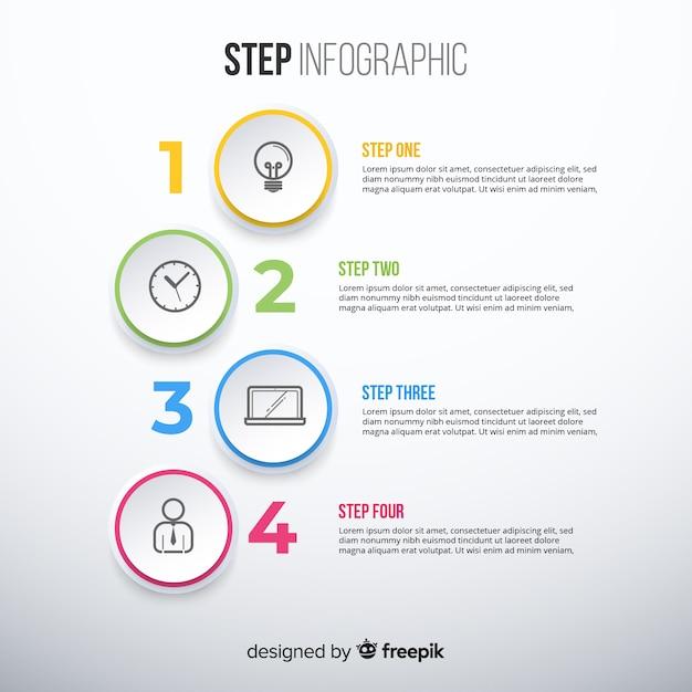 Kleurrijke infographic sjabloon met stappen Gratis Vector