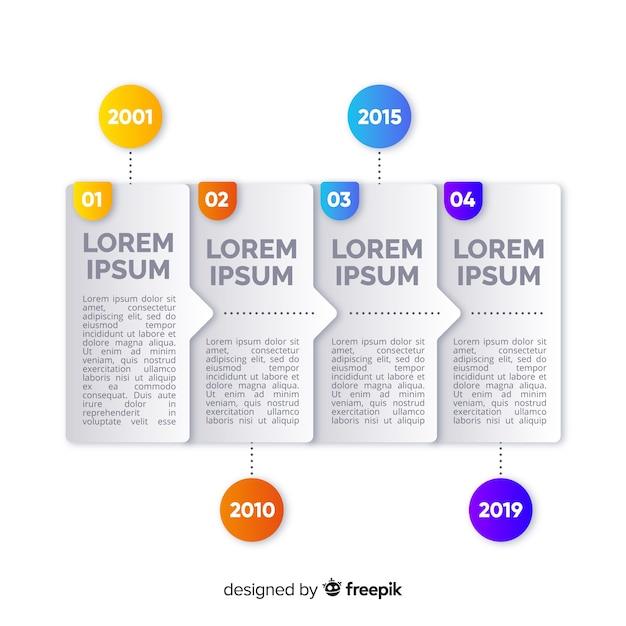 Kleurrijke infographic sjabloon van tijdlijn Gratis Vector