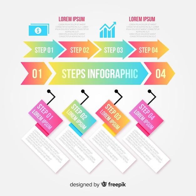 Kleurrijke infographic stappen ontwerpsjabloon Gratis Vector