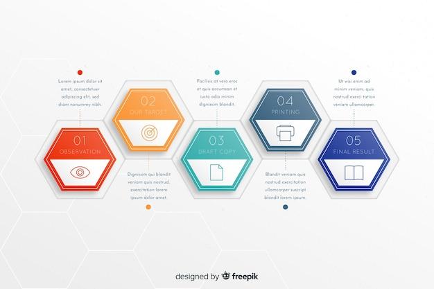 Kleurrijke infographic stappen sjabloon Gratis Vector