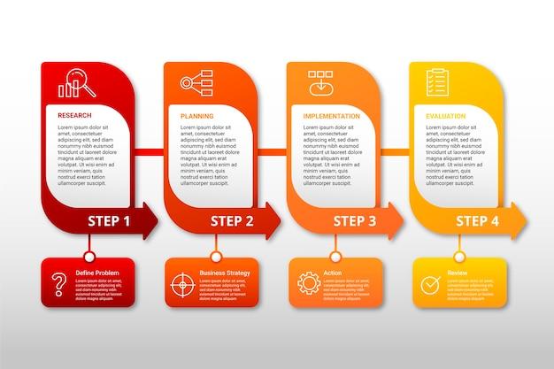 Kleurrijke infographic stappen Gratis Vector