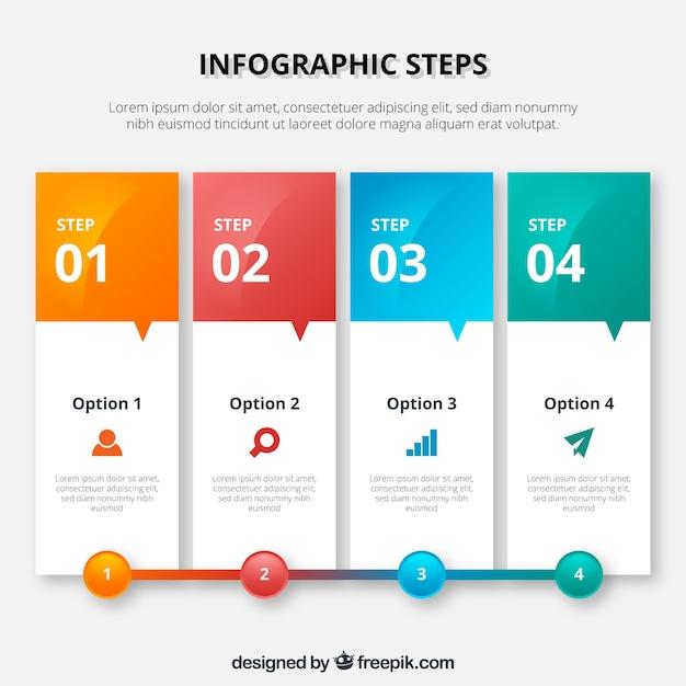 Kleurrijke infographic template in banner stijl Gratis Vector
