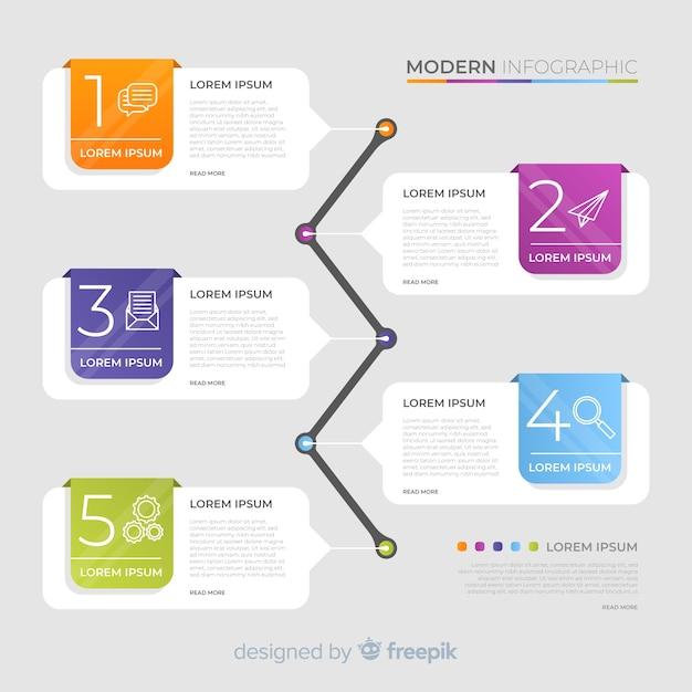 Kleurrijke infographic tijdlijn Gratis Vector