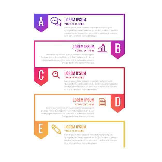 Kleurrijke infographic tijdlijnsjabloon Gratis Vector