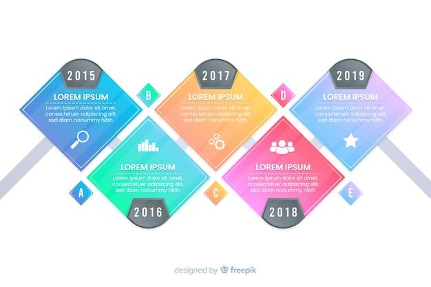 Kleurrijke infographics tijdlijn platte ontwerp Gratis Vector