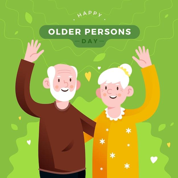 Kleurrijke internationale dag van de ouderen Gratis Vector
