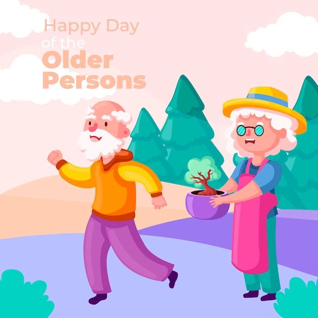 Kleurrijke internationale dag van de ouderenachtergrond Gratis Vector