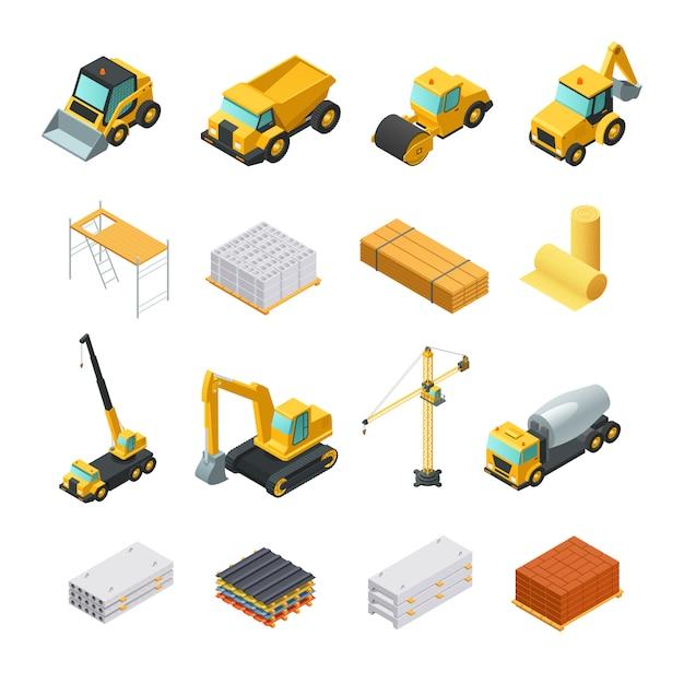Kleurrijke isometrische bouwpictogrammen die met diverse materialen en vervoer worden geplaatst dat op witte bac wordt geïsoleerd Gratis Vector