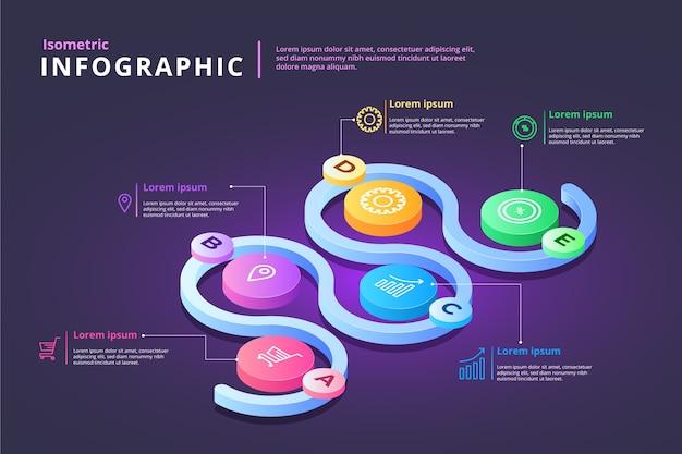 Kleurrijke isometrische infographic Gratis Vector