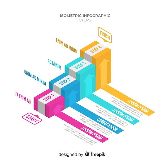 Kleurrijke isometrische trap infographics sjabloon Gratis Vector