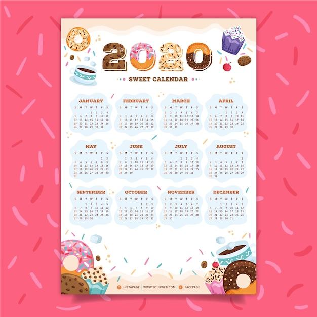 Kleurrijke kalender 2020 Gratis Vector