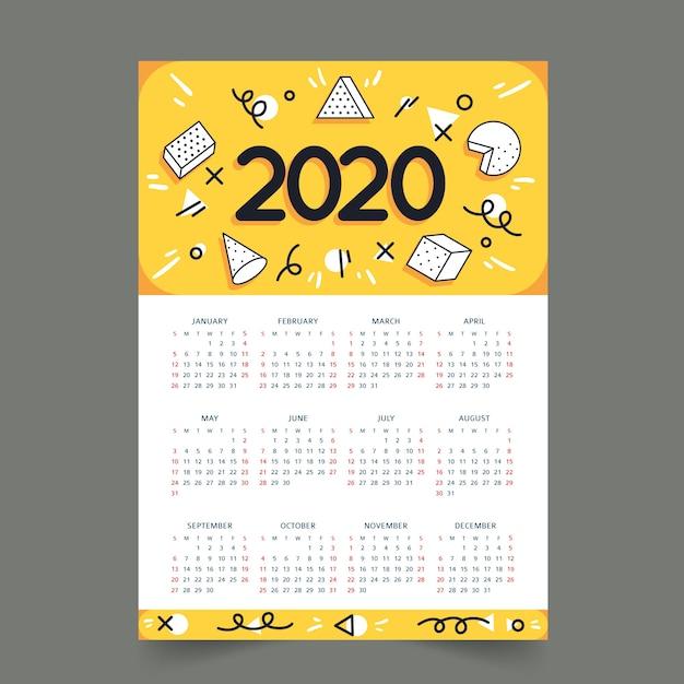 Kleurrijke kalender kalenderconcept Gratis Vector