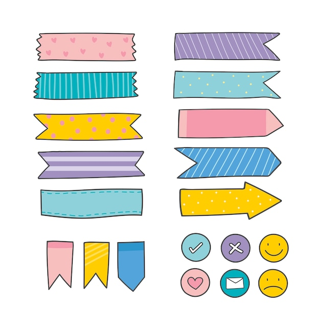 Kleurrijke kantoorbenodigdheden levert-collectie Gratis Vector